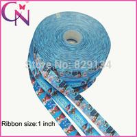 "Free shipping 1""25mm frozen ribbon Snow Romance ribbon printed grosgrain ribbon DIY handmade accessory ribbon CNGR-1406262"