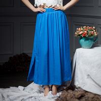 YIGELILA 5110 Latest Summer Blue Elastic Waist Side Slits Women Long Maxi Skirt Free Shipping
