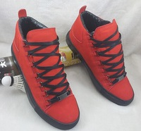 New 2014 Drop Ship Men's High Top Leather Arena Sneakers Size 39-46 running Kanye West footwear brand Mens Fashion Trainers