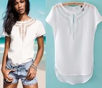 9 Colors Summer Women Cheap Elegant Carved Hollow Out Blouse Ladies' Casual Slim Chiffon Shirt Women T-shirt Tops