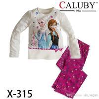 2014 2pc boys girls Anna Elsa Princess FROZEN  children cartoon long sleeve T-shirts + pants outfits underwear kids clothing