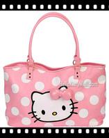 2014 Hot sale Pink Polka Dot hello kitty handbag girls/women shoulder bag shopping bags cute cartoon female bags