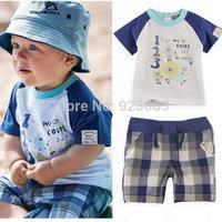New 2014 summer baby boy clothing sets kids cotton boy's t shirt+short 2pcs clothing set/ boys clothing atacado roupas infantil