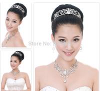 2014 New Luxurious crystal wedding jewelry set gorgeous bride tiara +necklace+earrings