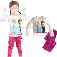 Frozen Elsa & Anna Girls Boys Pajama Set Kids Clothing Sets Children Long Sleeve Clothe Nightie Pyjamas Sleeping Wear NEW 2014