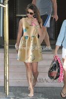 Free shipping Swan beige V-neck sleeveless dress vest dress Slim-end