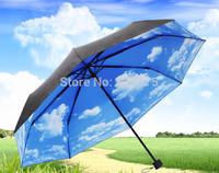 2014 Hot Selling Blue Sky Three-Folding Creative Umbrella Women and Men Sunny and Rainy Umbrella Free Shipping