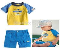 New 2014 summer baby boy clothing sets kids cotton Crocodile boy's t shirt+short clothing set wholesale/atacado roupas infantil