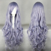 Wholesale price FREE P&P>>>Fiber Rozen Maiden Wavy Light Purple Anime Cosplay Costume Hair full Wigg