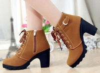2014 Autumn Women Boots Lace Up Ankle Boots Shoes Women Platform High Heel Booties Free Shipping wholesale cheap Yellow Size 39