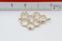 100pcs lot Free Shipping Bee hive Honey comb Gold plated brass charm pendant
