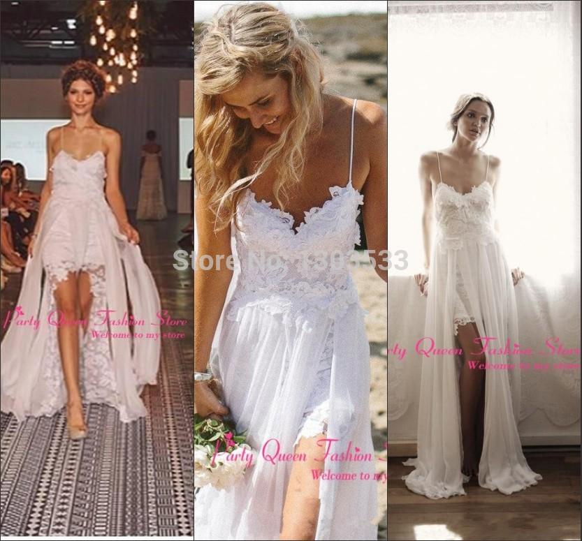 L'arrivée de nouveaux sexy top vente plage, salut lo bon avant de lacet court. dos long simple élégante robe robe de mariée en mousseline de soie