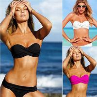 ML37054 Size S/M/L Strapless Women New Sexy Bikini Sets Bandage Bikini Swimwear Summer Beachwear Bathing Suits White/Black/Rose