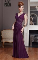 New Elegeant Ruffles V-neck Chiffon Beading  A-line Formal Mother Of The Bride Dresses
