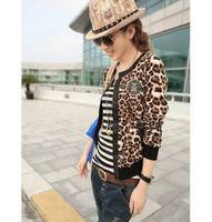 2014 New Design women's cheap long-sleeve short jacket leopard print jacket PU leather jacket female coat Cardigan QC06