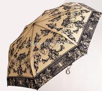 2014 30% OFF Cheap Three-Folding Creative Sunny and Rainy Umbrella Printing Umbrellas Promotional Rain Gear Freeshipping
