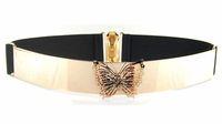 Designer Belts Fashion 2014 Metal Vivid butterfly Metallic Bling Gold  belt black color,  Free Shipping JZ051717