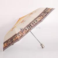 2014 Newest Three-Folding Automatic Creative Sunny and Rainy Women's Umbrella Printing Princess Umbrellas Rain Gear Freeshipping