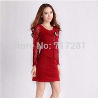 Hot Sale! Korean fashion Slim lace long-sleeved dress Free shipping       q4499