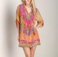 QZ1320 New Fashion Ladies' vintage floral print Dress O neck three quarter sleeve causal slim evening party brand designer dress