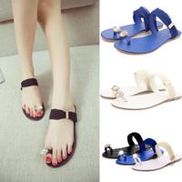 2014 New Summer Women Sandal Shoes Woman Girls Flats Platform Sandals Rhinestone Toe-post Flip-flop Casual Casual Dress