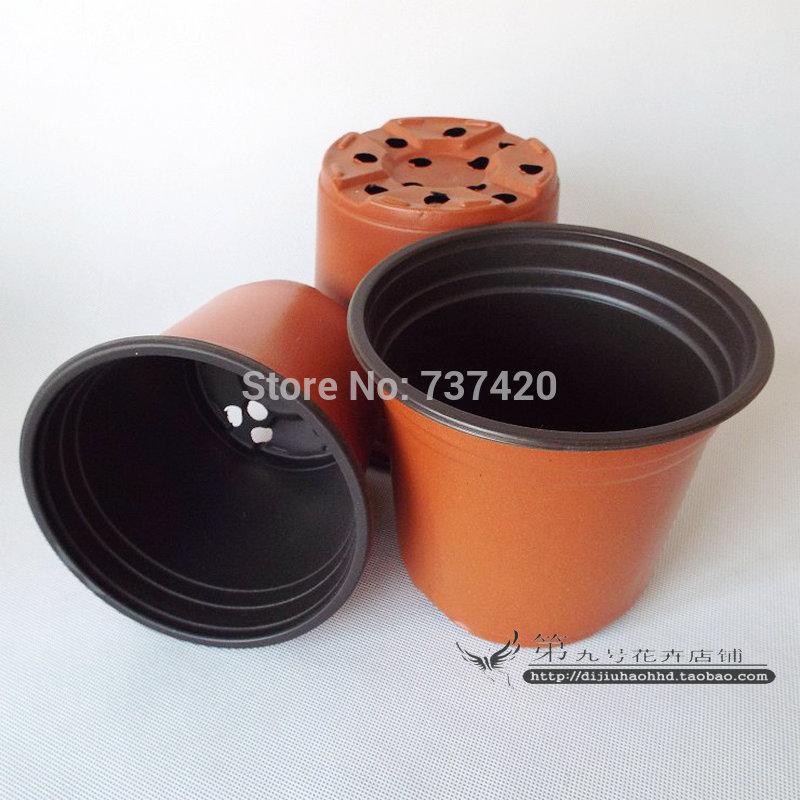 Promotion! 100 pcs double couleur 90mm calibre résistance à la corrosion postoral pots de pépinière en plastique des pots de fleurs de jardin en plastique pots