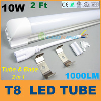 Good Quality T8 LED Tube Light with base 10W 2ft 0.6m LED fluorescent SMD2835 High brightness 1000LM AC85-265V CE RoHS FCC