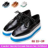 New fashion 2014 European style the British Harajuku punk flat thick sole shoes, square head creepers platform shoes KM6-202-5