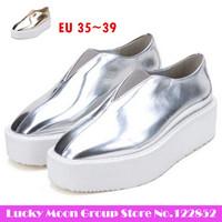 New fashion 2014 European style the British Harajuku punk slip-on shoes, square head creepers platform shoes KM6-202-8