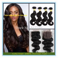 6A Julia Queen Hair Brazilian Virgin Hair 4pcs Bundles with 3 part closure 5pcs lot Unprocessed Body Wave human hair extension