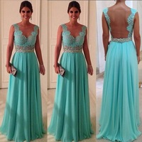 Free Shipping Customzied are available Colorful Chiffon Beads Party Gown Elegant Long Prom 2014 Evening Dress