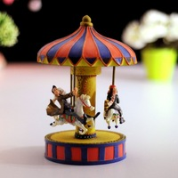 Carousel music box romantic lovers resin musical box gifts girlfriend birthday present