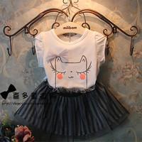 2014 Summer new Korean children's clothing for girls super cute bow cat T + striped suit veil wholesale