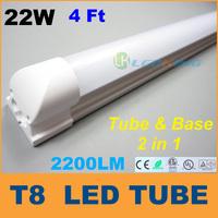Good Integrated 4ft T8 LED Tube Light with base 22W 1.2m LED fluorescent SMD2835 High brightness led lights 2200LM AC85-265V