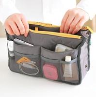 Women Insert Purse Cosmetic Storage Organizer Bag Handbag Makeup Tidy Travel,Collection Organizer 9colors 300pcs/lot