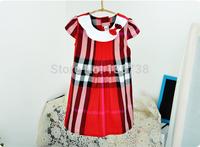 Kids girls summer 2014 new special European and American British plaid  dress princess dress doll dress