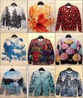 3D stock 2015 Women Men animal tiger leopard print pullover sweater jacket hoodies 3D Galaxy Pop Tops