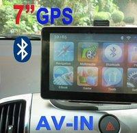 7 inch Car Navigator GPS with Bluetooth, AV IN, Fm transimitter window CE6.0+ 4GB card