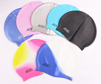 2014 New Fashion solid color Unisex Adult  Swimming Glossy cap Silicone  water-proof swimming hat