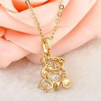 Fashion Gold Plated Panda Clear Zircon Crystal Pendant Jewelery 21mm   63283