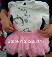Free shipping 0-2Y Baby Newborn Infant Girl clothing set 2pcs set T-shirt+tutu dress flower girl dress suit Children's sets