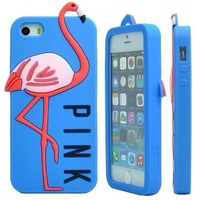 2014 Newest for Apple iphone 5 5S 5G Phone Back Case Cover Soft Silicone Flamingo Case Fashion Style Black/Blue/Pink/Rose Red
