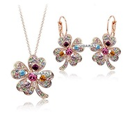 Fast Ship Classical Clover Jewelry Sets Fashion Women Four Leaves Crystal Pendant Necklace Sud Earring Set
