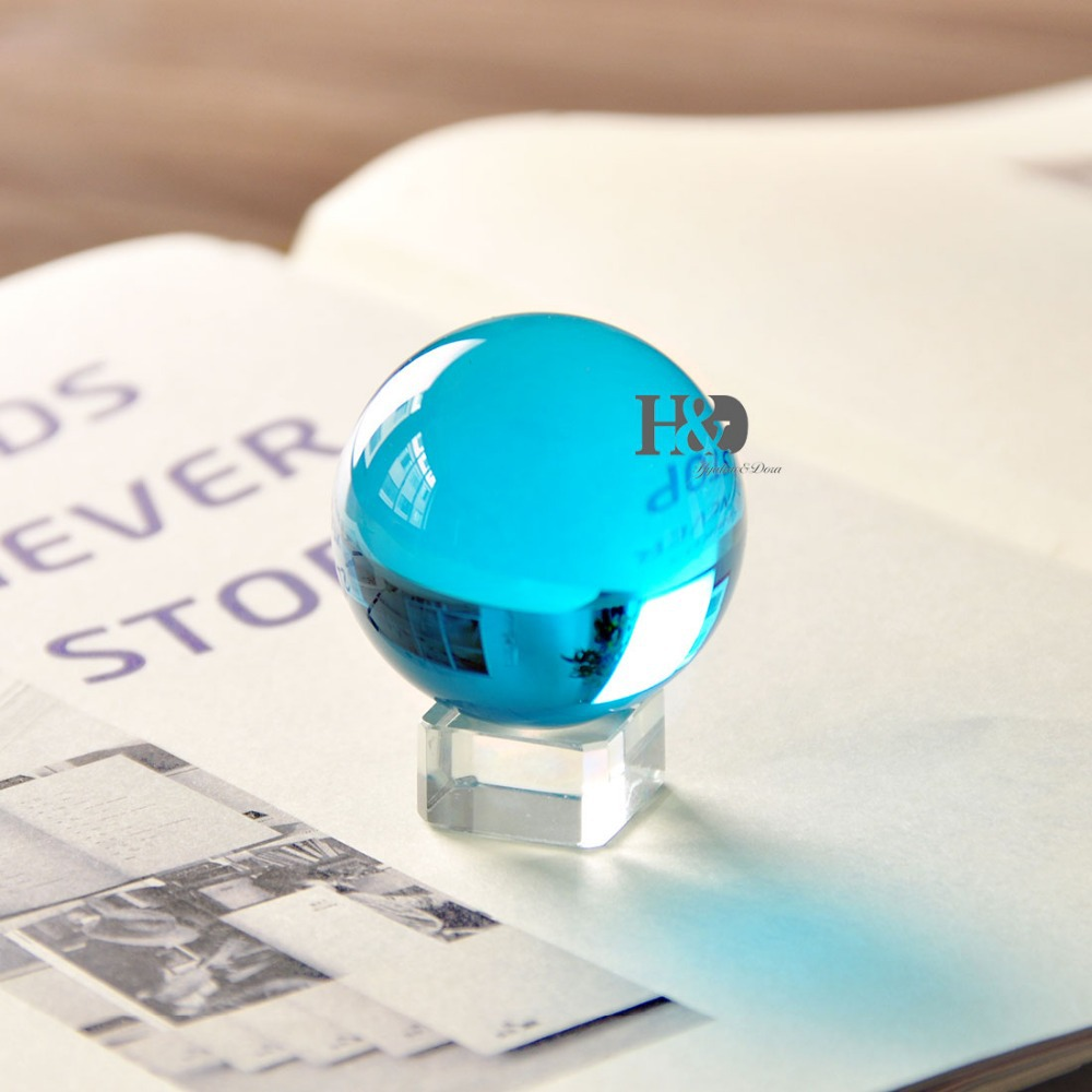 50mm Rare Magic Acid Blue Crystal Healing Ball Sphere With Removable Base Gifts Home Table Paperweights Series of Seven colors(China (Mainland))