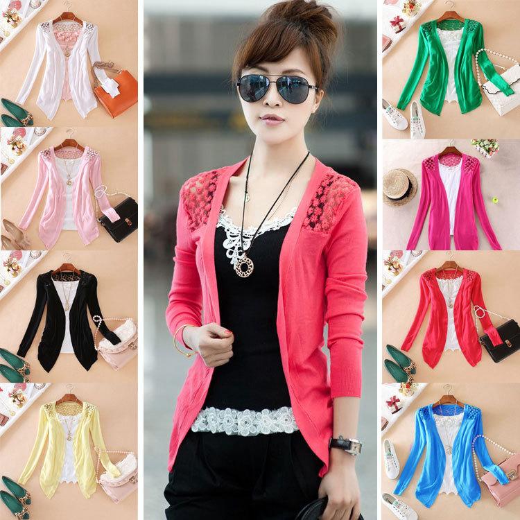 New 2014 Hot Sell Fashion Women Cardigan Sale Women Lace Sweet Candy Pure Color Slim Crochet Knit Blouse Sweater Cardigan(China (Mainland))