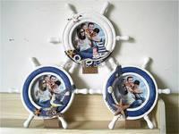 Free Shipping Blue white wool rudder photo frame photo frame rack photo frame decoration