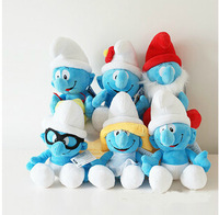 1pcs High quality Wholesale 30cm DOLL The elves papa Smurfette Clumsy Plush Toys with suction cups free shipping