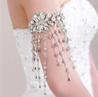 Free Shipping Beautiful  Bridal Wedding Rhinestone Crystal Dangle Long Tassel Lolita Arm Deco Armlet /Nekclace /SHoulder chain