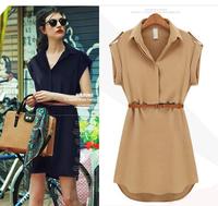 2014 New Fashion Women Summer Dress Slim Short Sleeve Party Dresses Desigual Vestidos Chiffon Casual Dress with Belt Blue CW0180