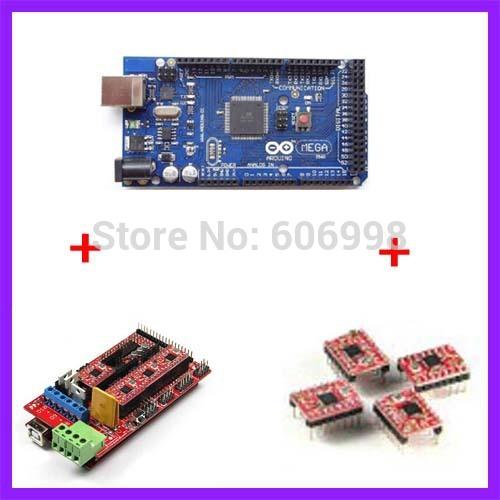 3D Printer Kit Mega2560 Main Control Board RAMPS1 4 Control Board 4pcs A4988 Stepper Motor Driver